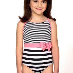 Detská bielizeň  Dievčenské jednodielne plavky Delanna farba čierno-biela ab9cd0c665d
