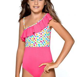 Detská bielizeň  Dievčenské jednodielne plavky s volánom Reana farba ružová 88d89a72899